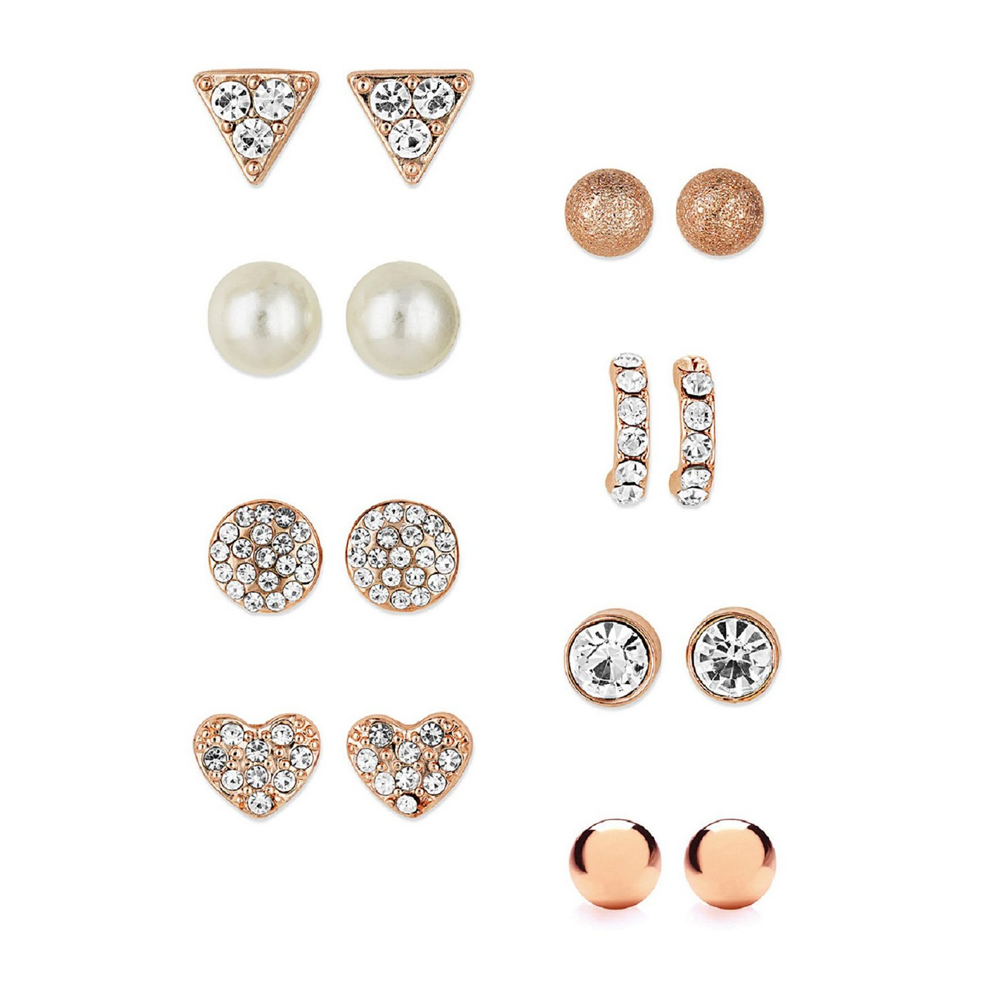 Image of Buckley London Rose Gold 8-Piece Stud Earring Set