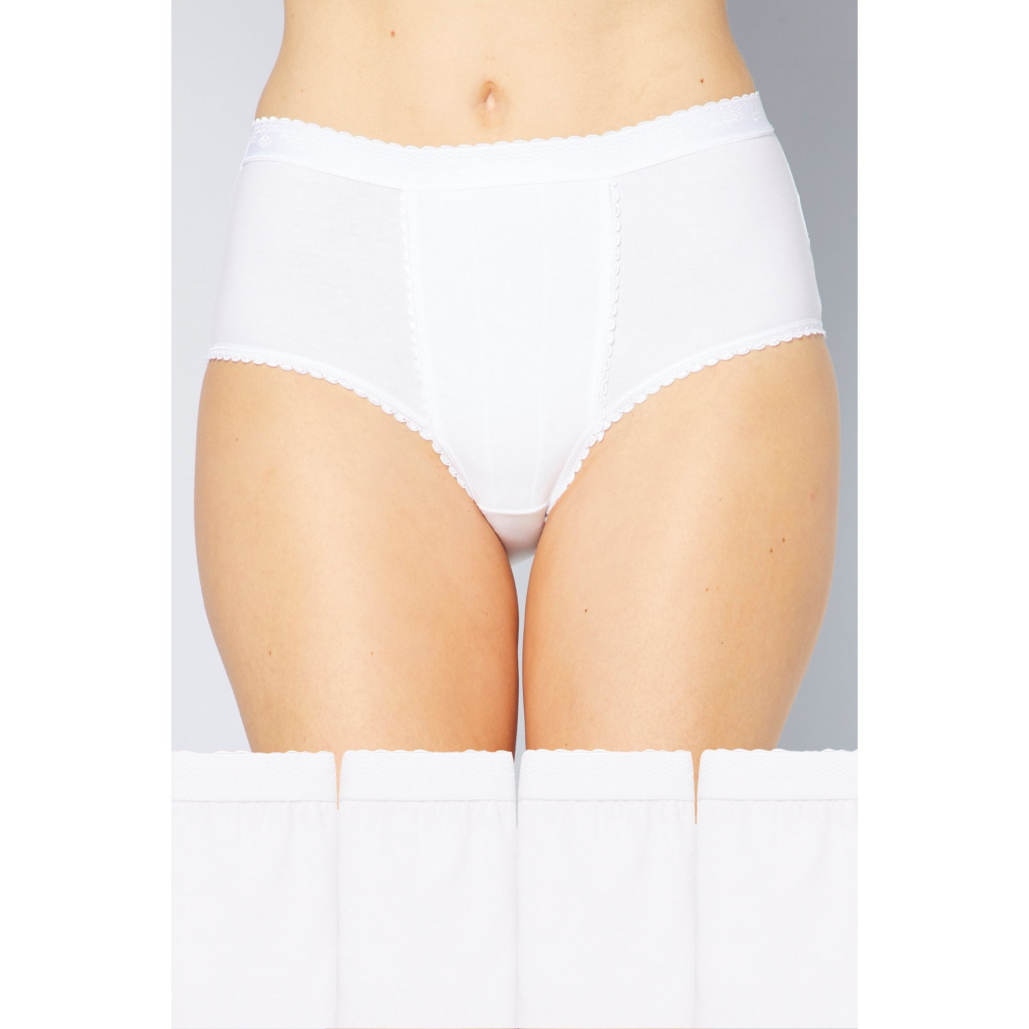 Image of Pack of 4 Plain High Leg Control Briefs
