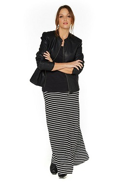 Just Me Striped Jersey Skirt