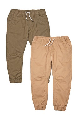 Boys Pack Of 2 Pull On Canvas Trousers