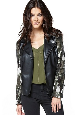 Be You Sequin Sleeve Biker Jacket
