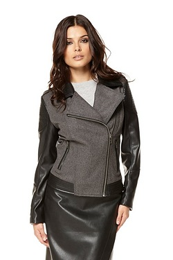 Be You Melton and PU Sleeve Biker Jacket