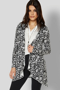 Be You Waterfall Cardigan - Mono Print