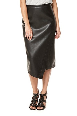 Be You Wrap Front PU Skirt