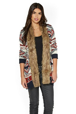 Be You Faux Fur Trim Cardigan - Natural Aztec
