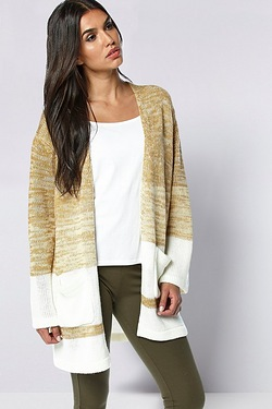 Be You Edge To Edge Cardigan - Camel/Ivory