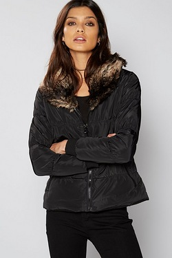 Be You Short Padded Jacket With Faux Fur Collar