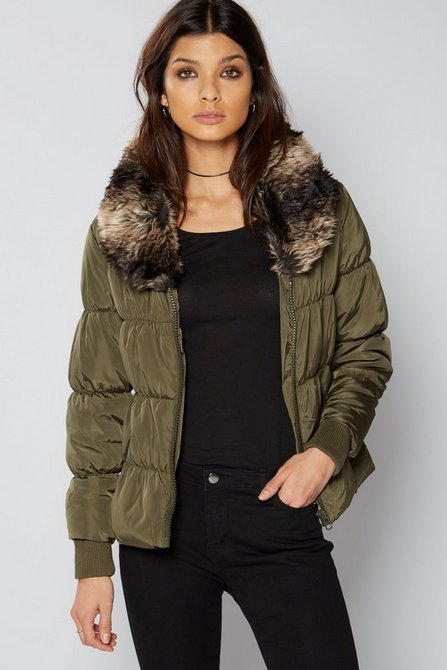 Short Padded Jacket With Faux Fur Collar Studio