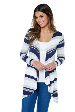 Be You Waterfall Cardigan - Navy Stripe