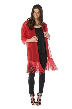 Be You Embroidered Fringe Kimono
