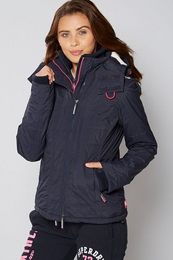 Superdry Quilt Windcheater With Sherpa Lined Hood