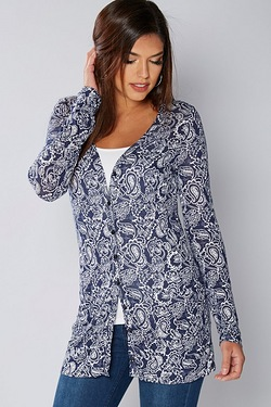 Be You Boyfriend Cardigan - Navy Print