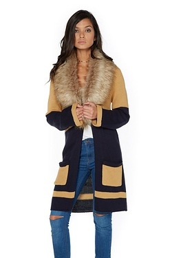Be You Edge To Edge Faux Fur Trim Cardigan