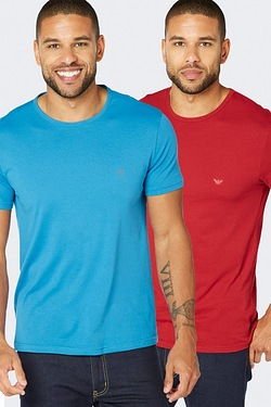 Emporio Armani Pack Of 2 T-Shirts - Blue/Red