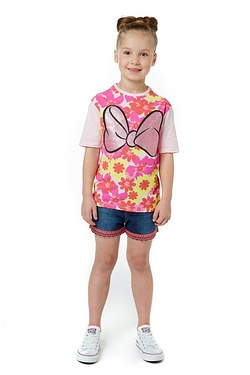Girls Minnie Mouse Glitter Bow T-Shirt