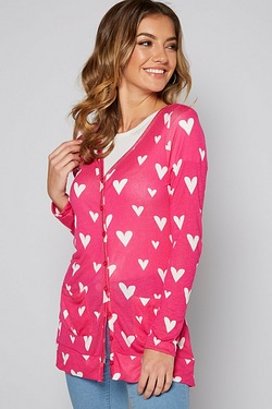 Be You Boyfriend Cardigan - Heart Print