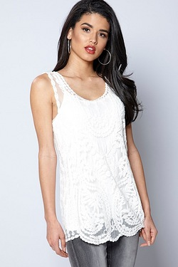 Club L Sleeveless Embroidered Top