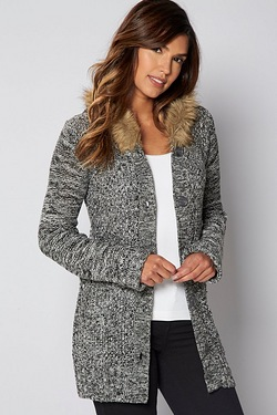Faux Fur Hooded Button Cardigan