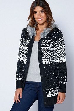 Be You Fur Trim Hood Fairisle Cardigan
