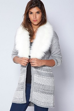 Be You Faux Fur Trim Cardigan