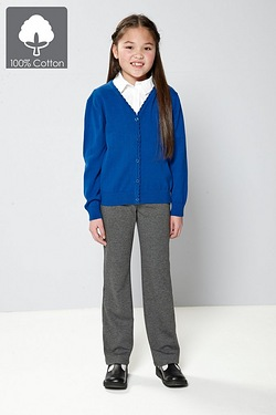 Girls Knitted Scallop Edge Cardigan - Royal Blue