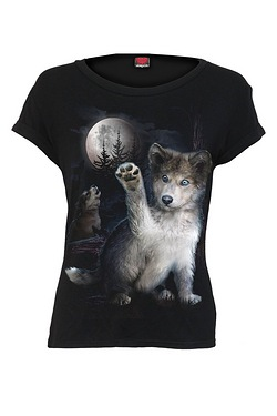 Wolf Puppy Cap Sleeve Top