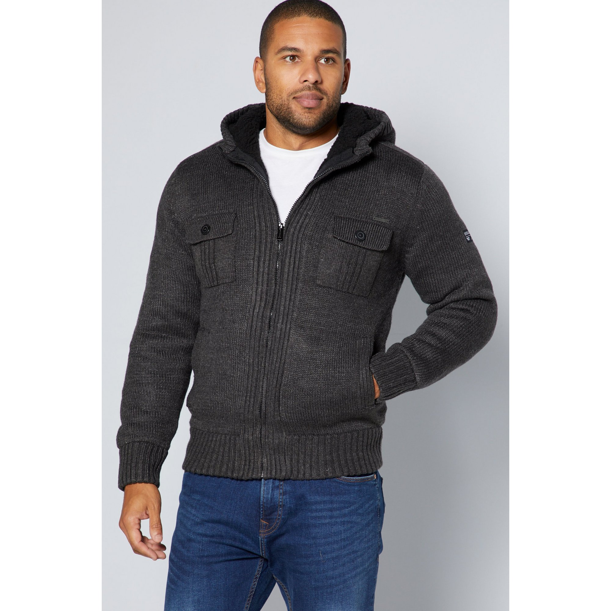 Image of Dissident Lined Knit Sherpa Jacket
