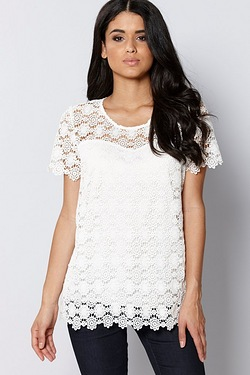 Club L Sweetheart Neckline Crochet Top