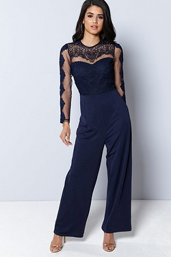 Club L Long Sleeve Crochet Detail Wide Leg Jumpsuit
