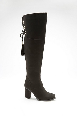 Be You Lace Back Over The Knee Heeled Boot