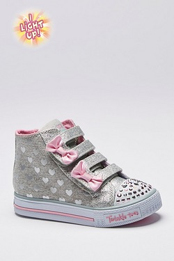 Girls Skechers Twinkle Toes Foil Hightop
