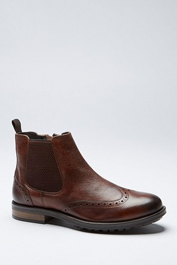 TG Brogue Leather Chelsea Boot