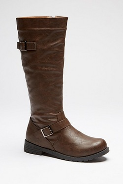 Be You Tall Double Buckle Boot - Brown