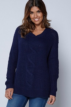 Be You Twist Front Drop Shoulder Chunky Jumper