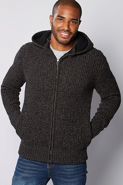 Mens Zip Through Hooded Cardigan