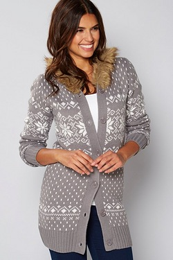Be You Fur Trim Fairisle Cardigan