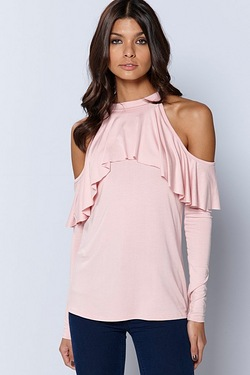 Be You Cold Shoulder Frill Detail Top - Pink