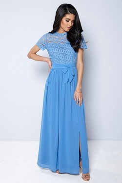 Club L Crochet Short Sleeve High Neck Maxi Dress