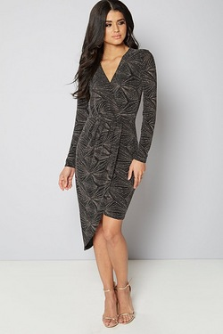 Club L Asymmetric Wrap Dress With Geo Patterned Lurex