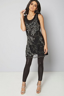 Club L Peacock Embroidery and Sequin Tunic Dress