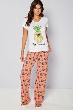 Pyjama and Slipper Set - Pug Tropicana