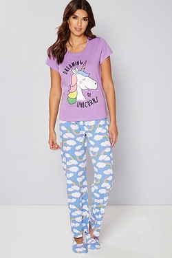 Pyjama and Slipper Set - Unicorn
