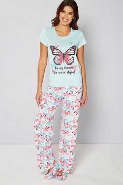 Pyjama and Slipper Set - Butterfly