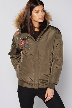 Be You Embroidered Bomber Jacket - Khaki