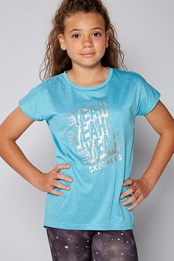 Girls Skechers Cold Shoulder Jersey Top