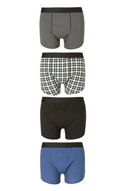Twisted Gorilla Pack Of 4 Check Boxers