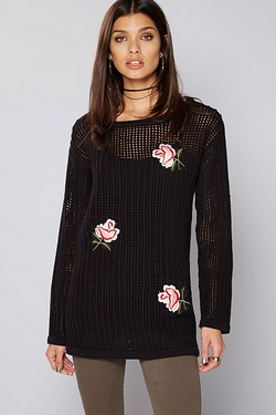 Be You Fishnet Embroidered Jumper