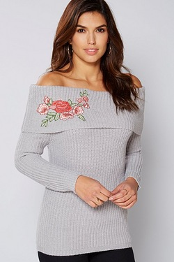Be You Bardot Embroidered Jumper