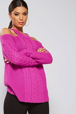 Be You Cold Shoulder Cable Front Jumper