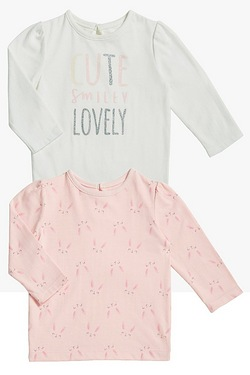 Baby Girls Cute Smiley Lovely Pack Of 2 T-Shirts